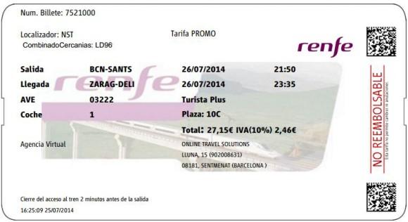 Billetes Ave Barcelona Zaragoza