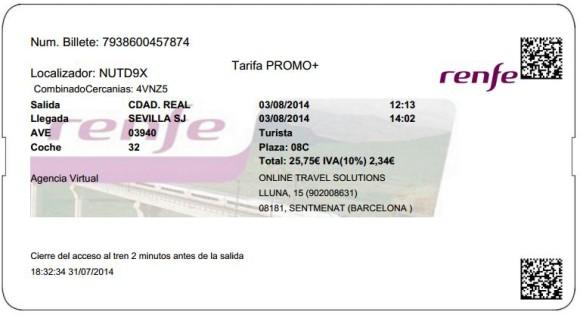 Billetes Ave Ciudad Real Sevilla
