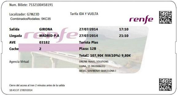 Billetes Ave Girona Madrid
