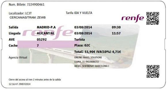 Billetes Ave Madrid Alicante