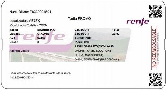 Billetes Ave Madrid Girona