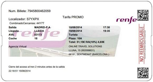Billetes Ave Madrid Lleida