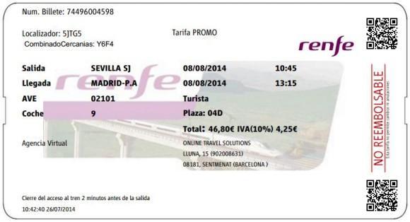 Billetes Ave Sevilla Madrid