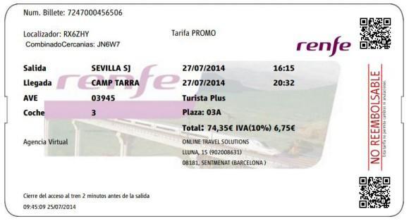 Billetes Ave Sevilla Tarragona