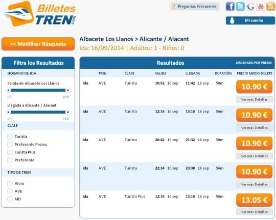 Precios Ave Albacete Alicante