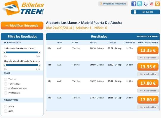 Precios Ave Albacete Madrid