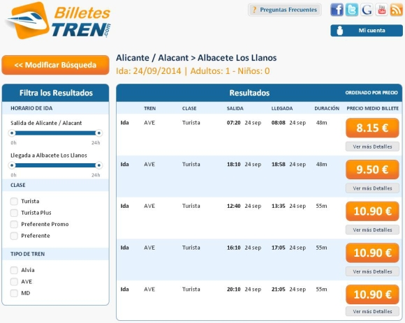Precios Ave Alicante Albacete