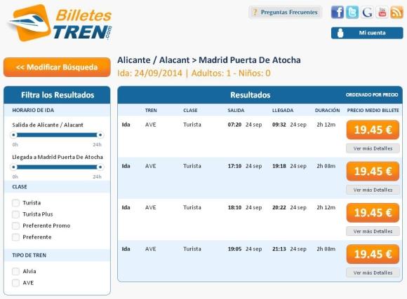 Precios Ave Alicante Madrid