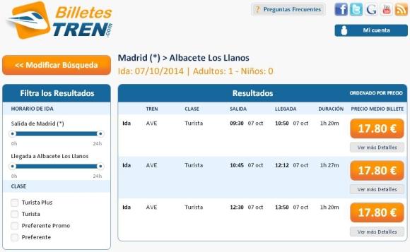 Precios Ave Madrid Albacete