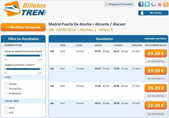 Precios Ave Madrid Alicante