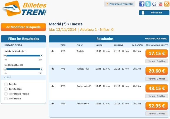 Precios Ave Madrid Huesca