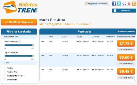 Precios Ave Madrid Lleida