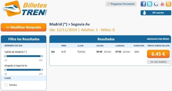 Precios Ave Madrid Segovia