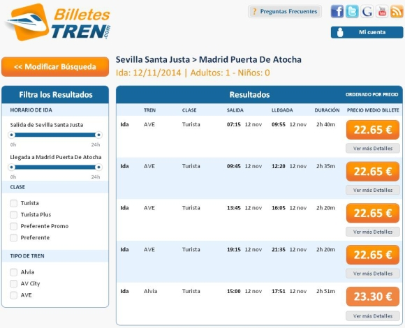 Precios Ave Sevilla Madrid