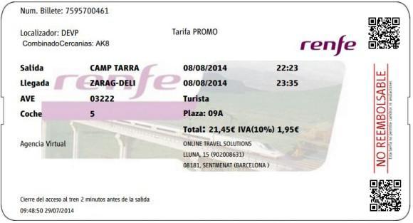 Billetes Ave Tarragona Zaragoza