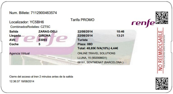 Billetes Ave Zaragoza Girona