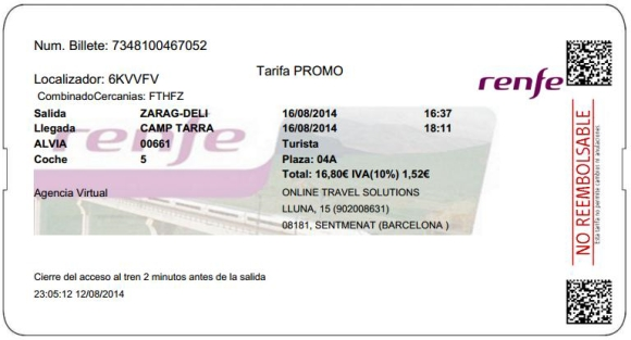 Billetes Ave Zaragoza Tarragona