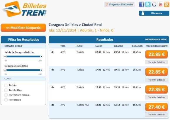 Precios Ave Zaragoza Ciudad Real