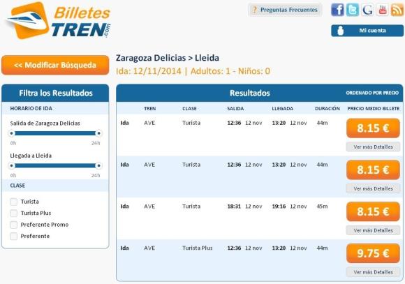 Precios Ave Zaragoza Lleida