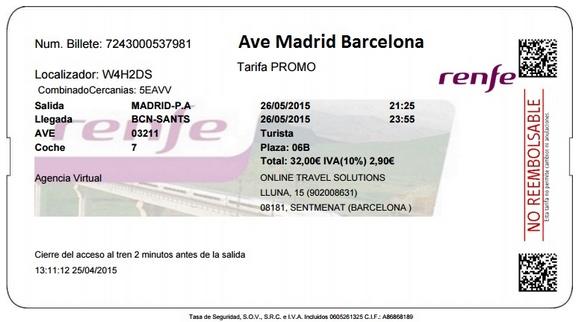 Billete Ave Madrid Barcelona barato